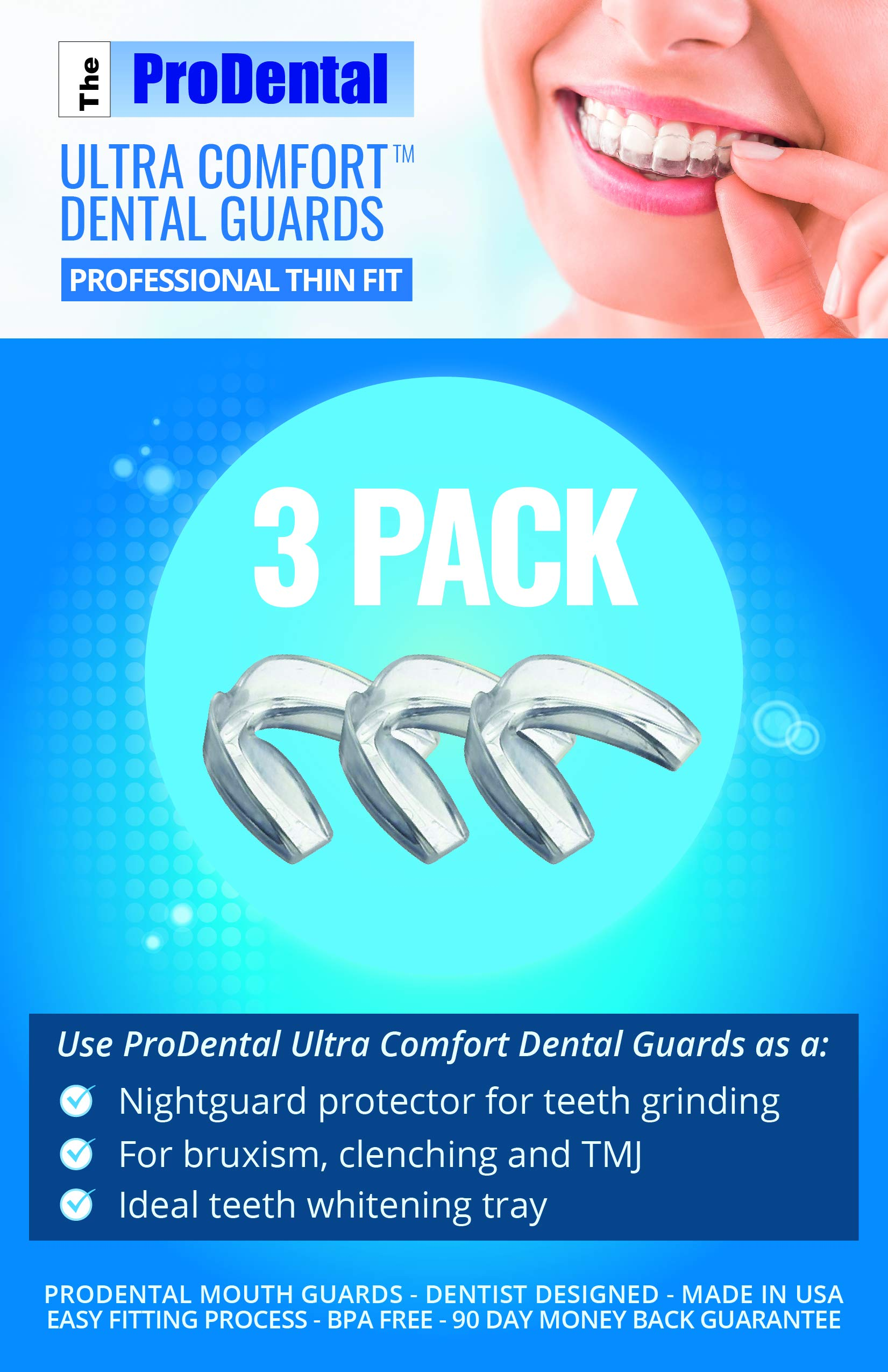 ProDental Thin and Trim Mouth Guard for Grinding Teeth - 3 Pack, Made in USA | Night Guard Stops Bruxism - Teeth Clenching | Use as Customizable Teeth Whitening Dental Guard | FDA Approved Material by ProDental