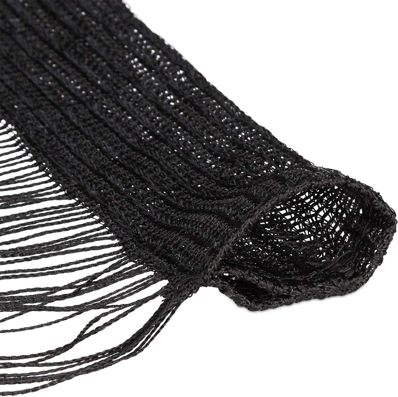 Porte fen/être Franges Rideau 245 cm Hauteur Noir 145x245 cm Polyester 1 /él/ément Relaxdays Fils