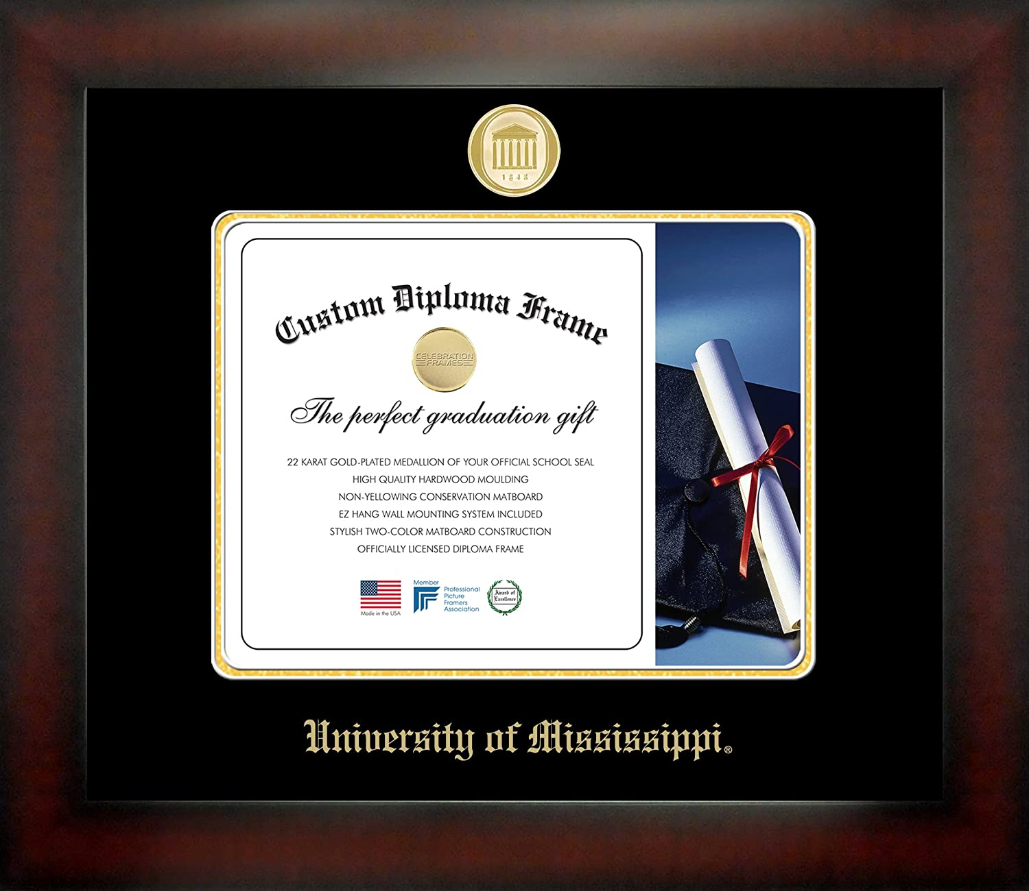 NCAA Mississippi State Bulldogs Infinity Diploma Frame Brown with Black Edging Medium