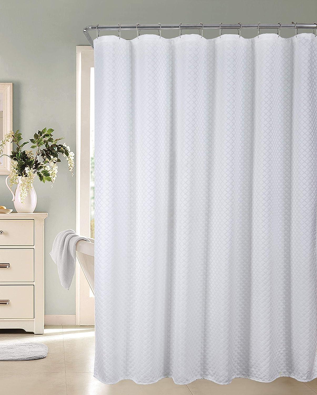 Dainty Home Diamond Matelasse Fabric Shower Curtain, White