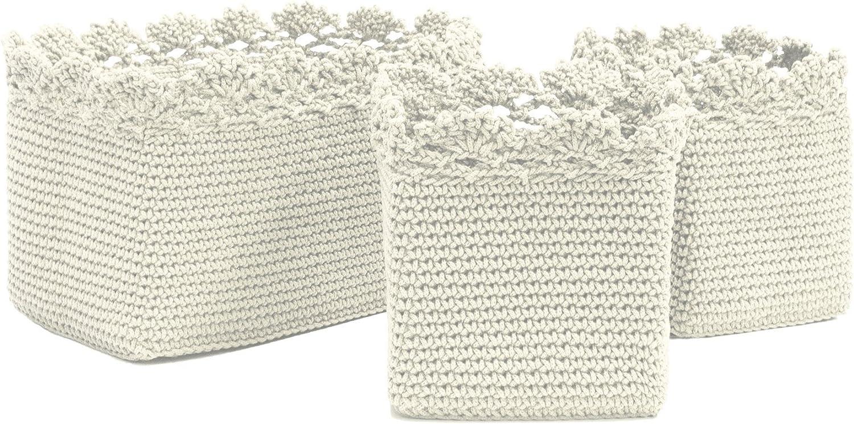 Heritage Lace Mc 1050cr Crochet Set Of 3 With Trim Mode Basket Cream Amazon Ca Home Kitchen