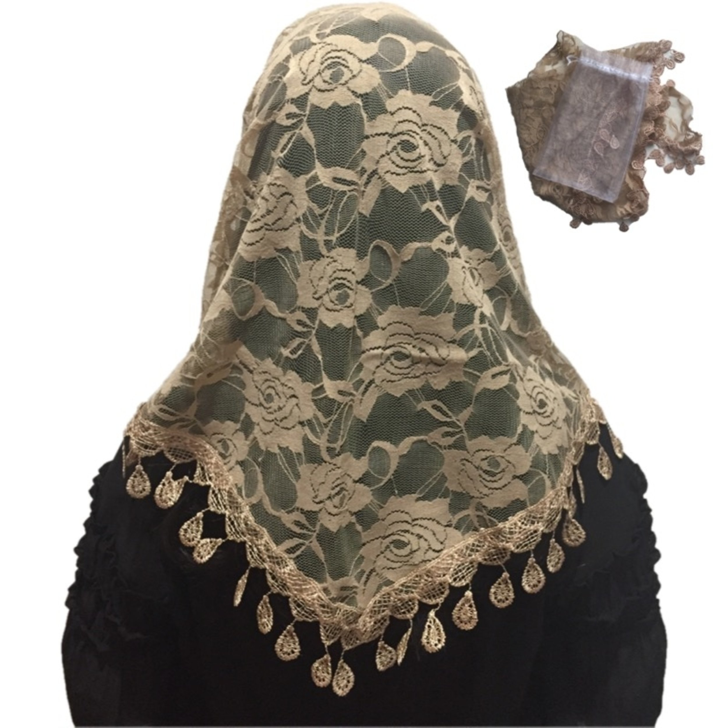 Mass Veil Catholic Church Mantilla Beige Chapel Lace Shawl or Scarf Latin Mass Head Cover with a Handy Storage Pouch Tan Champagne Light Brown (Beige) by Beatus Veils
