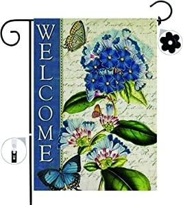 Welcome Garden Flag, Wreath WinterYard Flag with Stopper Double Sided Burlap Fall Weather Resistant Seasonal Garden Flags for Outside Farmhouse Patio Lawn Outdoor Home Décor Gift 12 X 18 Inch
