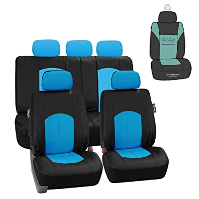 FH Group PU008115 Highest Grade Faux Leather Seat Covers (Blue) Full Set with Gift - Universal Fit for Cars, Trucks, SUVS: Automotive