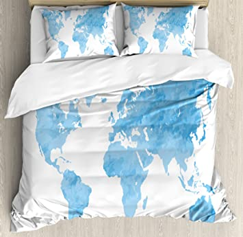 Amazon map duvet cover set king size by ambesonne blue map duvet cover set king size by ambesonne blue watercolor style world map artistic pastel gumiabroncs Choice Image