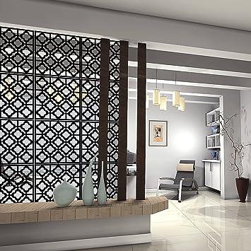 Amazon Com Kernorv Hanging Room Divider Decorative Screen Panels Made Of Pvc Room Divider Panels For Living Room Bedroom Office Restaurant Black 12 Pcs Furniture Decor