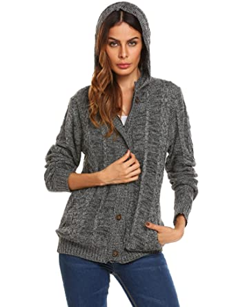 GEESENSS Women's Long Sleeve Cable Knit Hooded Button Down ...