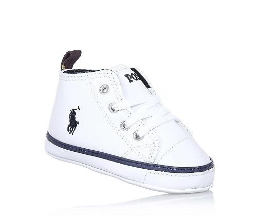 POLO RALPH LAUREN - Zapato de cuna blanco con cordones, en cuero ...