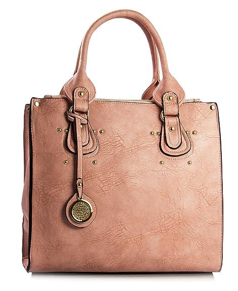 Big Handbag Shop Womens Faux Leather Satchel Top Handle Shoulder Bag