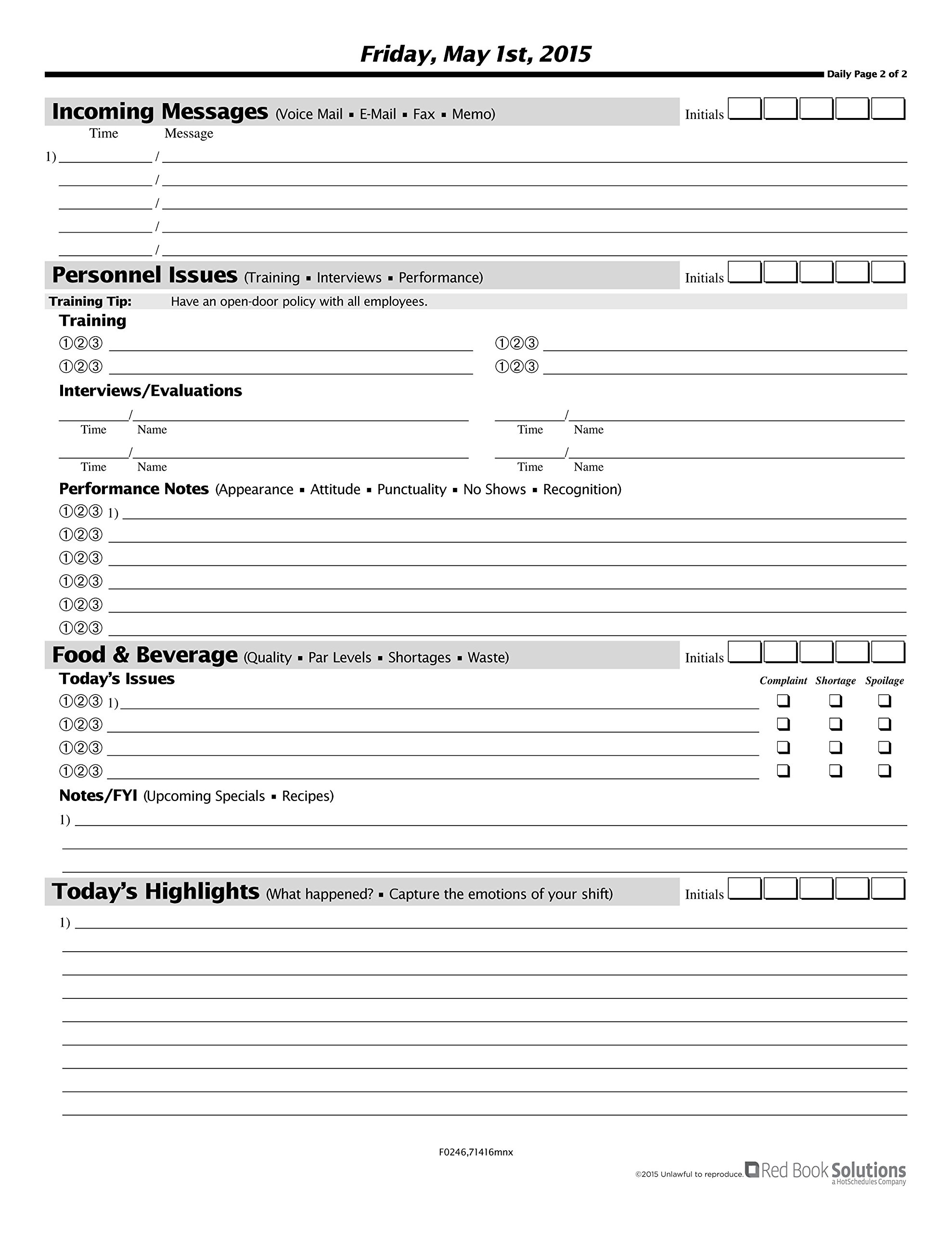 The Manager's Red Book - Full Service restaurant communication logbook, 8.5''x11'' quarterly, 266 pages, 2 daily pages (F0246) (October - December 2018)