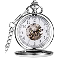 Hicarer Vintage Analog Mechanical Pocket Watch with Chain