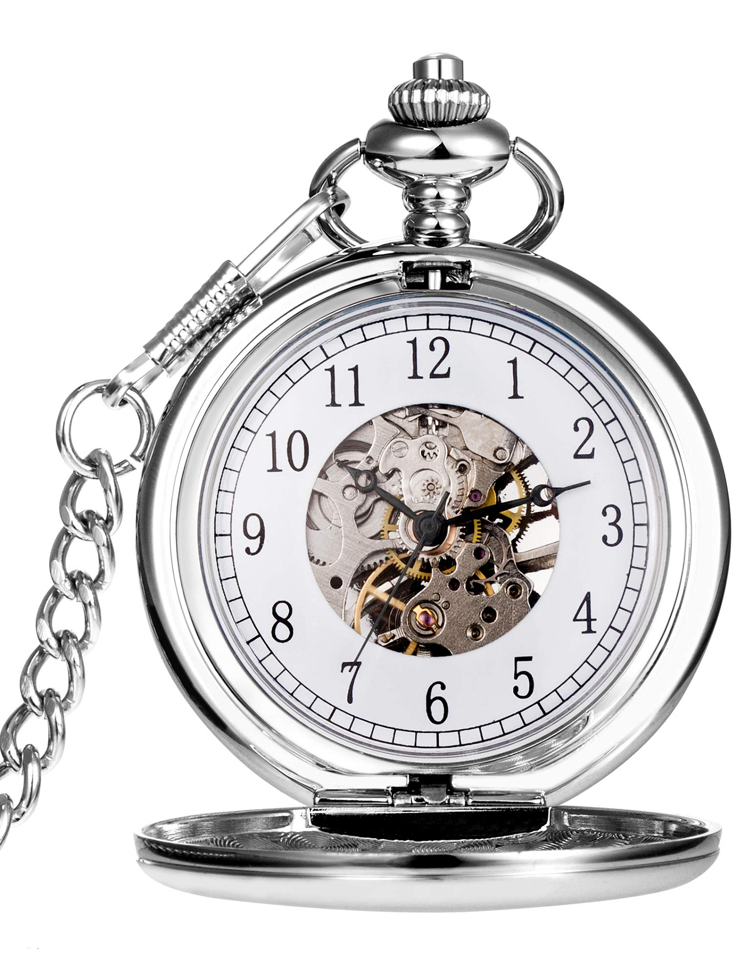 Hicarer Vintage Analog Mechanical Pocket Watch with Chain (Silver) by Hicarer