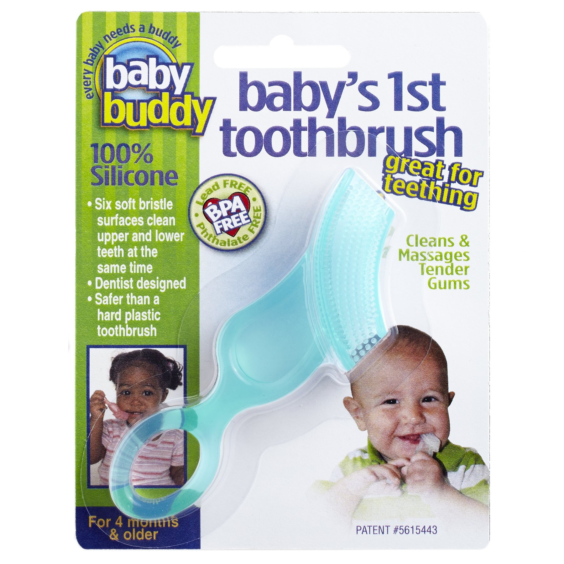 Baby Buddy Baby's 1st Toothbrush Teether—Innovative 6-Stage Oral Care System Grows With Your Child—Stage 4 for Babies/Toddlers—Kids Love Them, Green