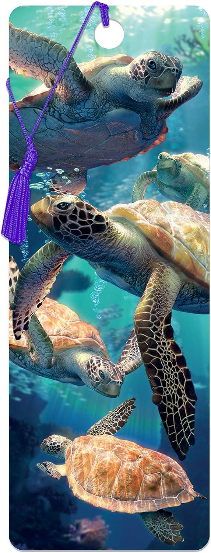Tortuga ba/ñandose de Deluxebase 3D LiveLife Marcapaginas Un marcap/áginas de tortugas marinas con 3D lenticular e ilustraciones con licencia del reconocido artista David Penfound