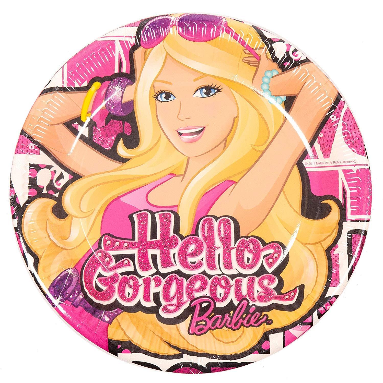 Platos de papel para fiesta de cumpleaños de Barbie Hello ...