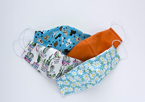 Filter Pocket and Nose Wire FREE SHIPPING Childrens Orange with Dogs Handmade Face Mask