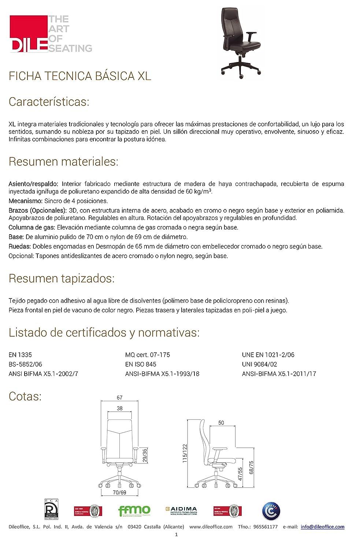 DILE Silla de Oficina direccional XL Piel Natural Negro: Amazon.es: Hogar