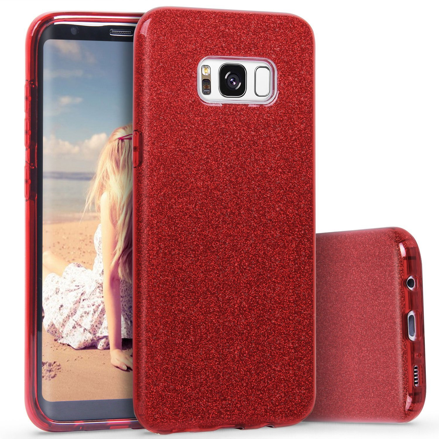 Amazon.com  Samsung Galaxy S8 Plus Case Glitter Red Bling Sparkle  Protective Luxury Phone Case Women Girl 6.2