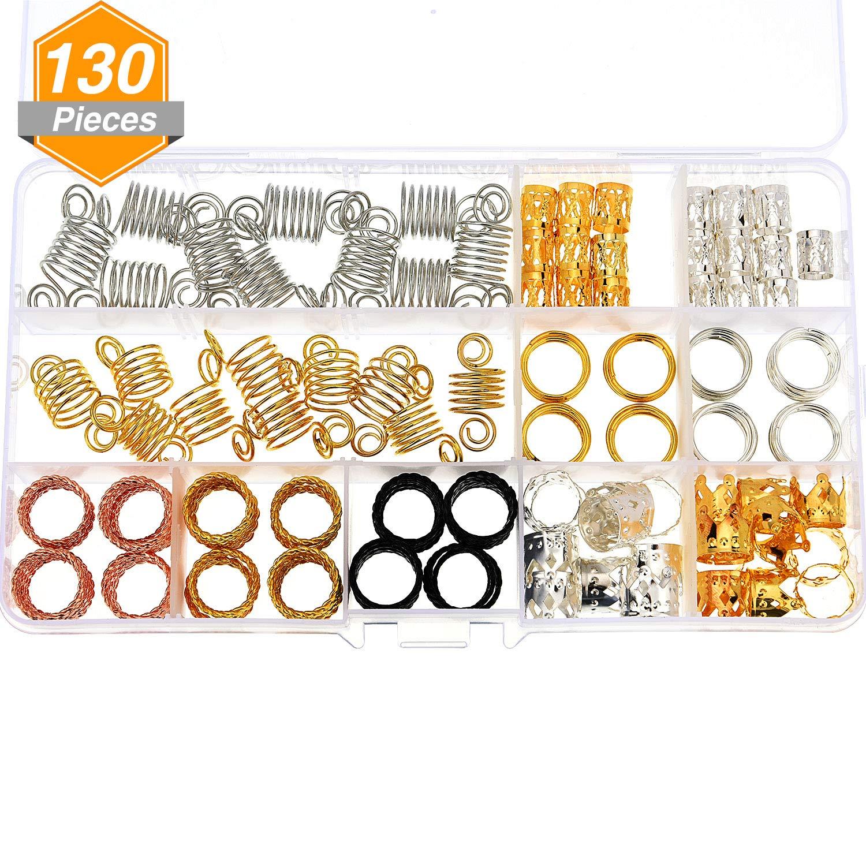 130 Piezas de Dreadlocks de Aluminio Accesorios de Decoración de Pelo Abalorios de Trenza de Pelo Puño de Pelo de Metal con Caja de Almacenaje Jetec