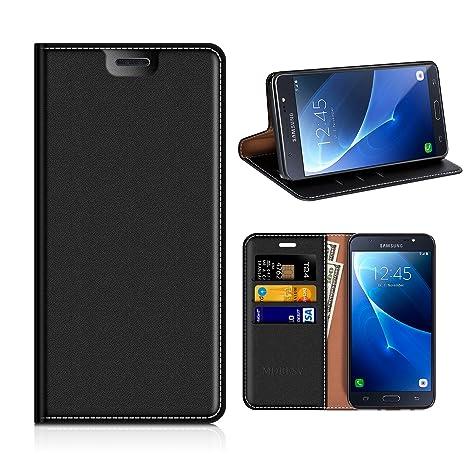 MOBESV Funda Cartera Samsung Galaxy J5 2016, Funda Cuero Movil Samsung J5 2016 Carcasa Case con Billetera/Soporte para Samsung Galaxy J5 2016 - Negro