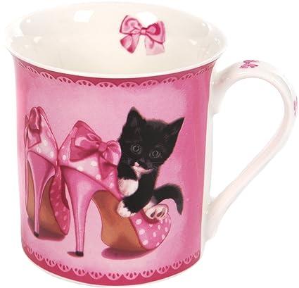 Porcelana-vasos en caja de regalo - gatos en s/w en zapatos de