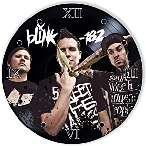 """Leooolukkin Blink-182 Vinyl Clock 12"""", Wall Clock Painted Blink-182, Original Gifts, The Best Gift for Music Lovers, Unique Wall Art Home Decor"""