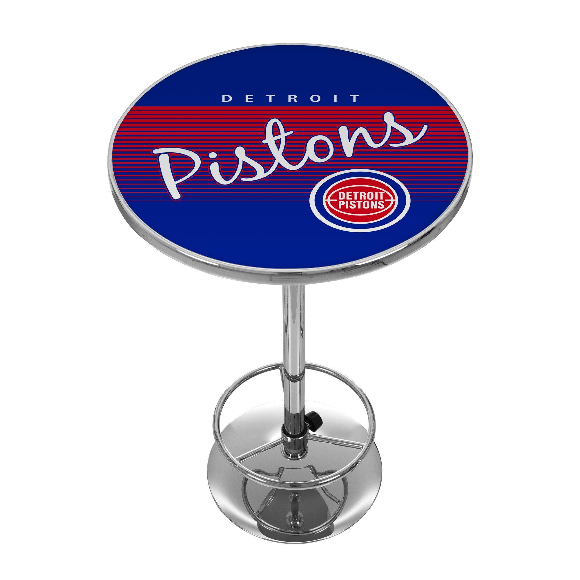 NBA Detroit Pistons Chrome Pub Table, One Size, Chrome by Trademark Global