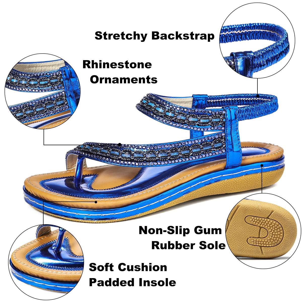 gracosy Summer Flat Sandals for Women Bohemian Rhinestone Sandals Outdoor Flip Flops Beach Thong Anti-Slip Shoes