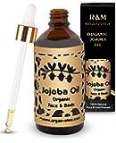 R&M - Aceite de jojoba prensado en frío para cara, cuerpo, cabello y más - 100% orgánico, comercio justo - Una piel más bella, una cara más limpia y un cabello fuerte - Botella Fair Trade - 100 ml