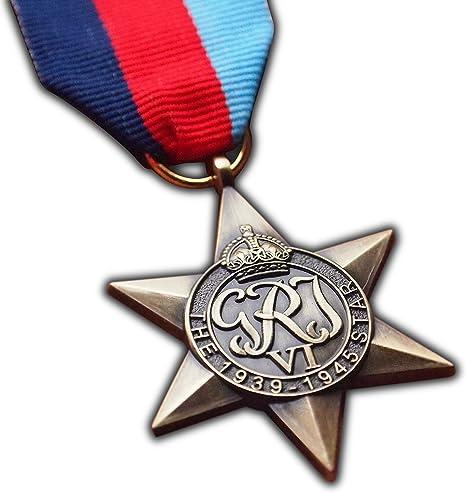 La medalla de 1939 – 1945 Star Signs alta British réplica de la Medalla Militar para   Ejército   Azul Marino   RAF   George VI: Amazon.es: Deportes y aire libre