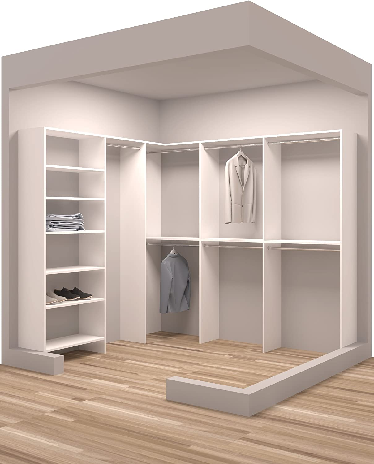 Tidy Squares Closet System – Easy to Assemble - Walk in, Adjustable Shelves, Multiple Size Hanger Racks – Perfect Idea for Extra Storage - Custom Closet Organizer Kit, White