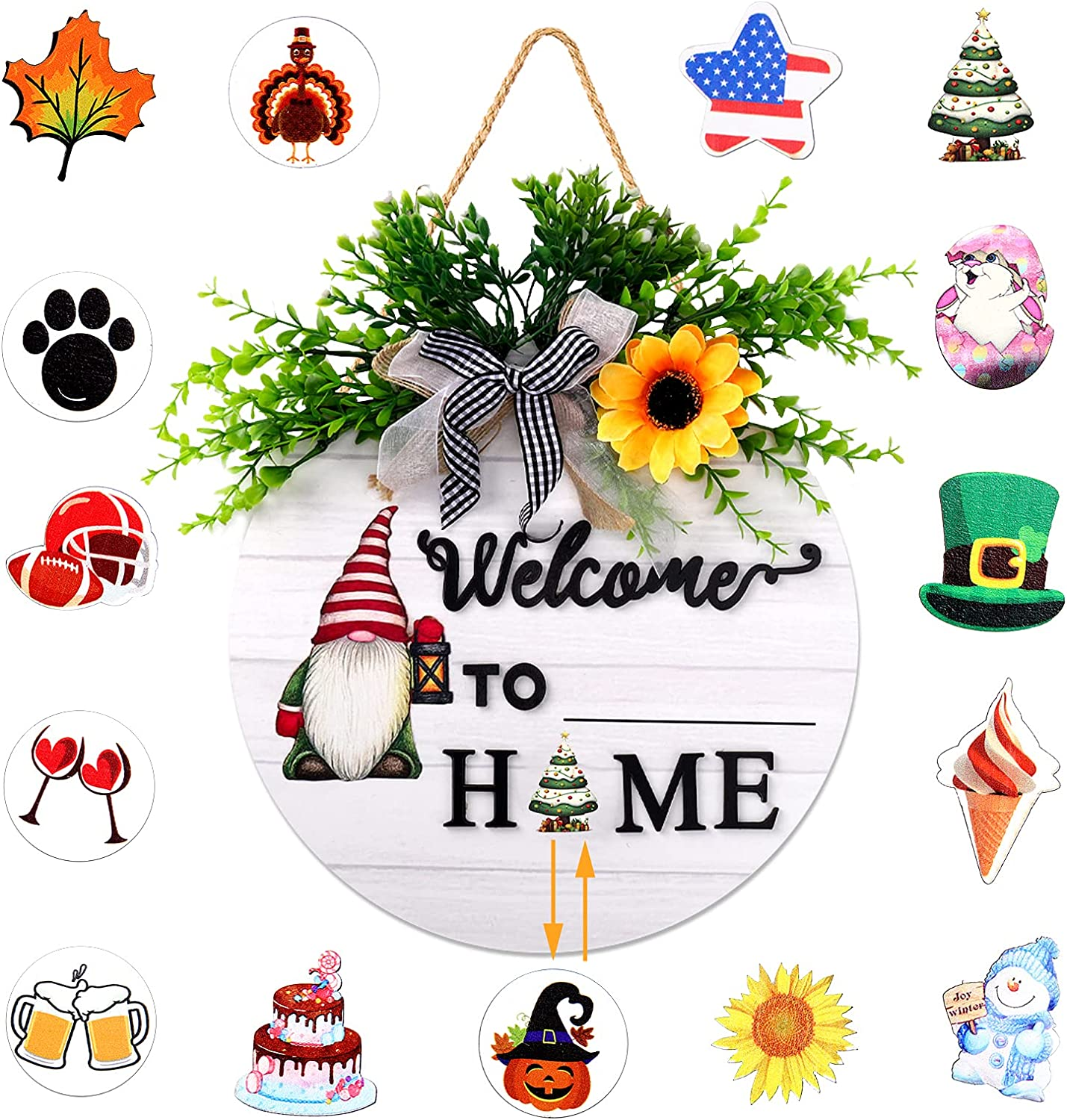 Interchangeable Welcome sign for front door, welcome door wreath, Welcome Home Sign wreath with 15 Seasonal signs, Festive front door decor sign with DIY name, front porch decor for door, wall, window