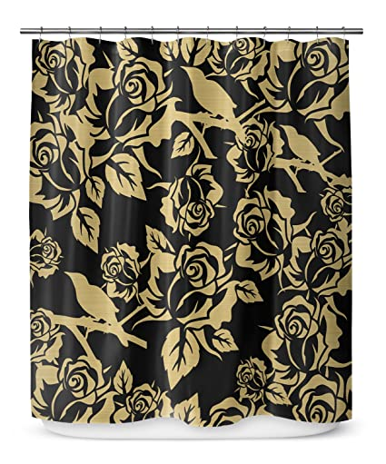 Amazon KAVKA DESIGNS Gold Metallic Garden On Black Shower