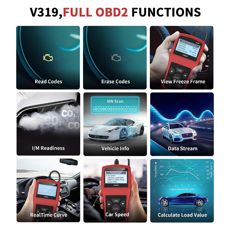 OBD2 Scanner OBD II Auto Outils de Diagnostic Lire et Effacer Les Codes d/'Erreur du Moteur D/étecter Facilement Dysfonctionnement du Moteur et Batterie pour Toutes Voitures avec Mode OBD2//EOBD//CAN