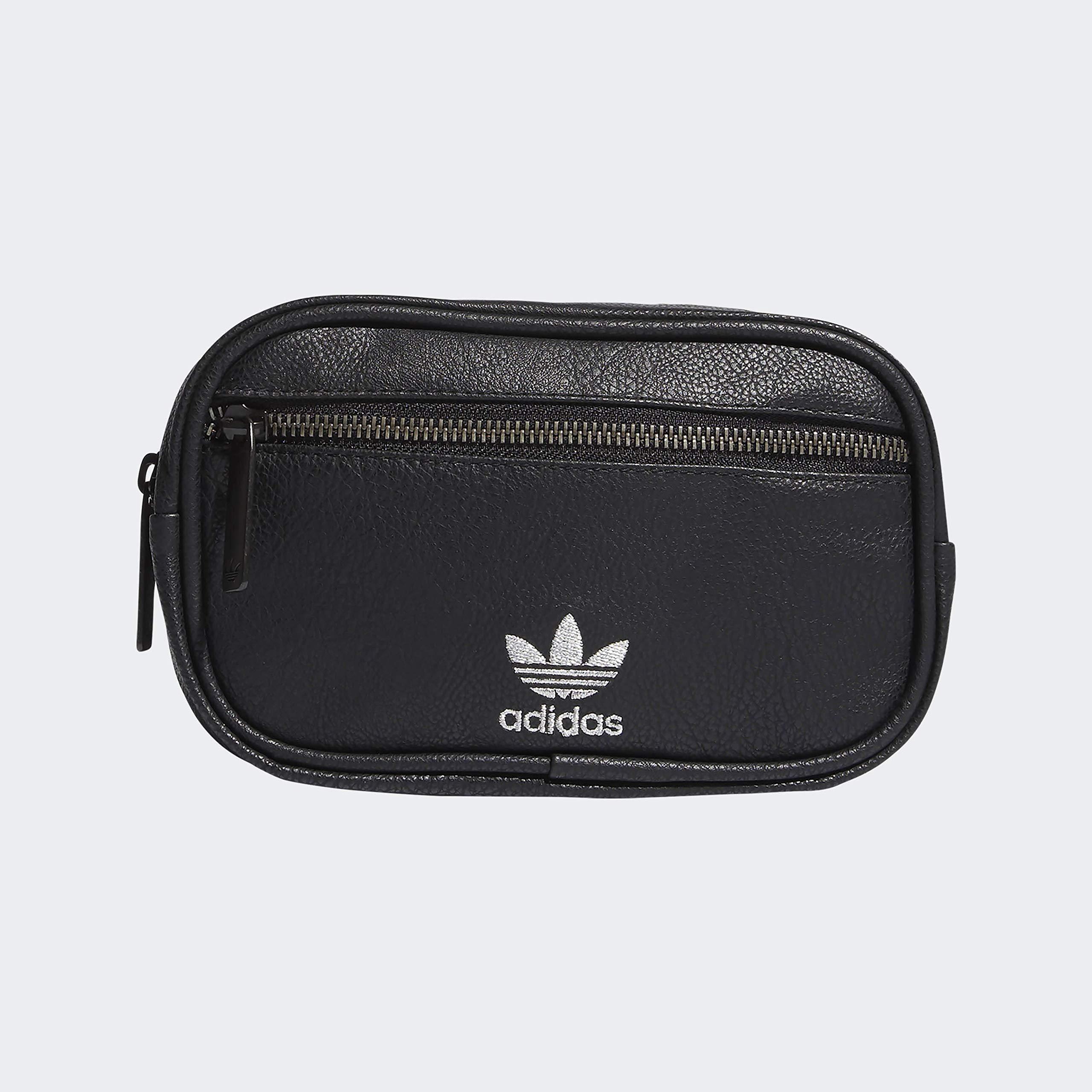adidas Originals Unisex PU Leather Waist Pack, Black/Silver, ONE SIZE by adidas Originals