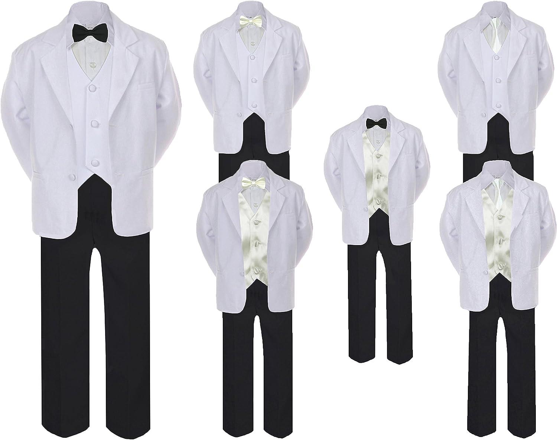 7pc Formal Boy Kid Black Suit Tuxedo Ivory Bow Tie Vest Set all Size 12