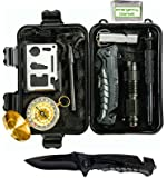 Global Tactical Gear Survival Kit Emergency Wilderness Tools with Heavy Duty Professional Knife, Adventure Compass and Emergency Blanket-Essential Gear for EDC, Camping, Hiking and Outdoor Survival