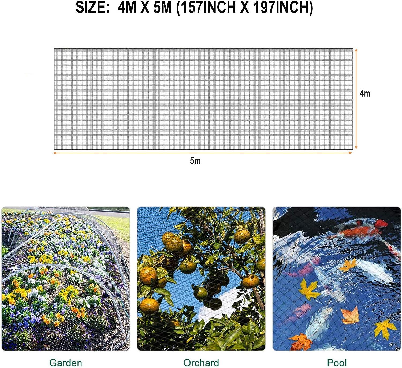 Etang Arbres 4m x 5m Filet de Protection Filet Anti Oiseaux Fleurs Fruits Piscines Kit de Filet de Jardin pour Prot/éger les Plantes 4m x 5m