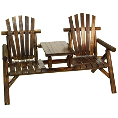 American Furniture Classics Log Two Seat Bench, Burnt