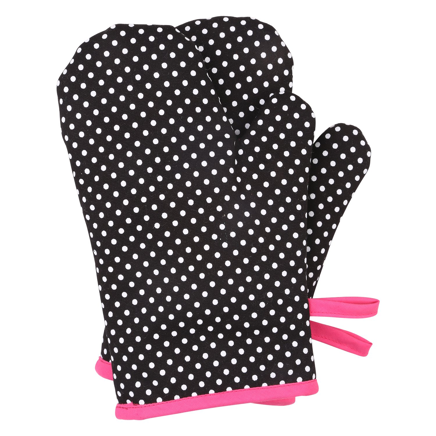 Neoviva Cotton Canvas Oven Mitt Set for Child, Pack of 2, Polka Dots Black