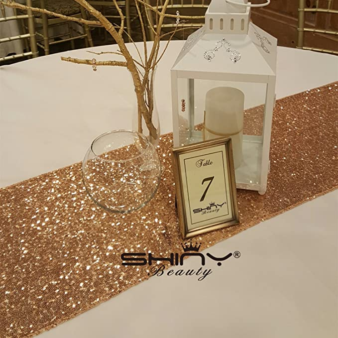 """Rose Gold Sequin Table Runner 12"""" x 108"""" Sequin TableCloth Wholesale Sequin Table Runners"""