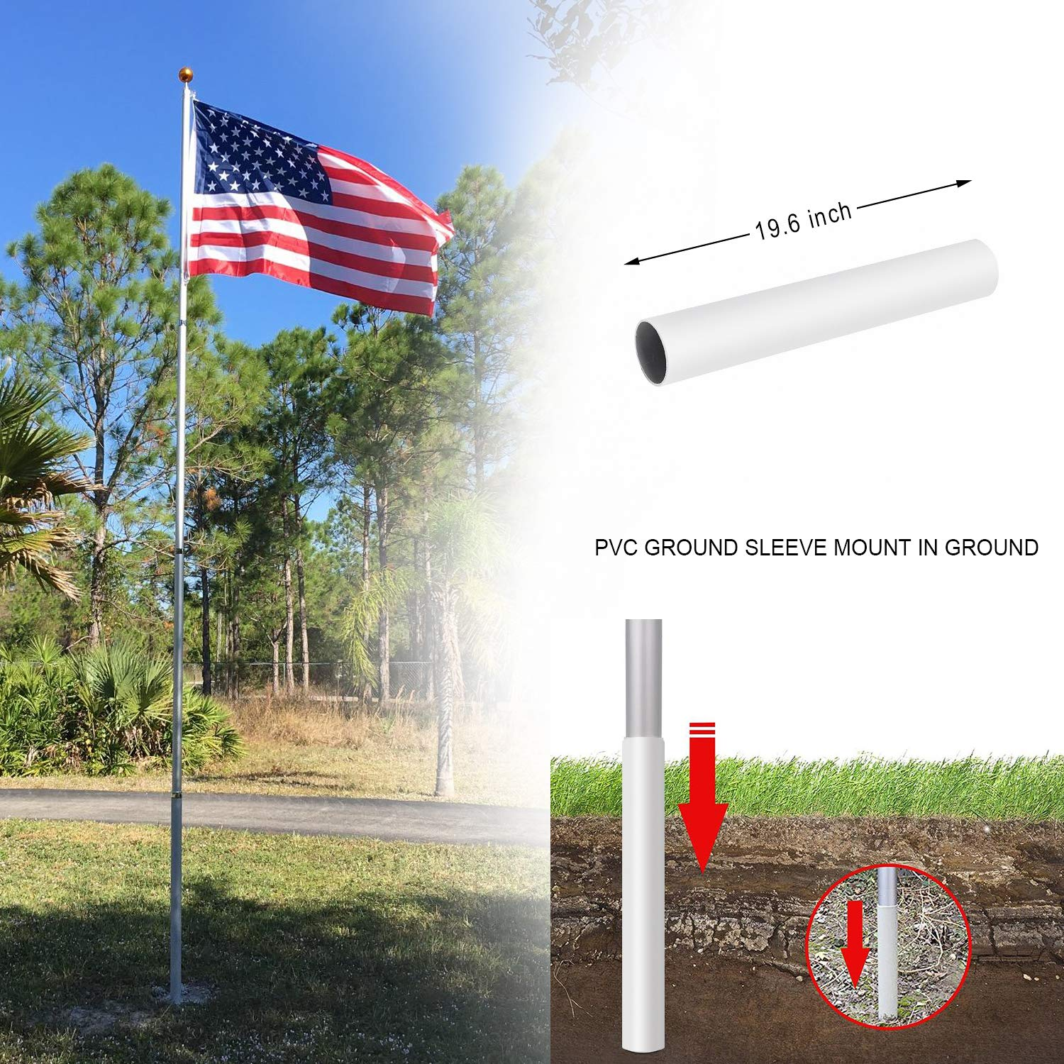 Gientan 25FT Telescopic/Flag Pole Kit 3x5 US Flag Heavy Duty 16 Gauge Aluminum American Inground Telescoping Flagpole Set Stainless Steel Clips Commercial Residential Silver