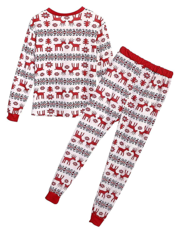 Serface Weihnachten Schlafanzug Familien Outfit Schlafstrampler Pyjama Hausanzug Mutter Vater Kind Baby Pajama Langarm Nachtwäsche Print Sleepwear Top Hose Set