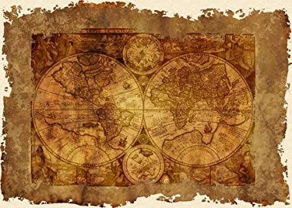 Amazon vintage early world map antique art worn out look vintage early world map antique art worn out look 11x8in laminated hd gumiabroncs Images