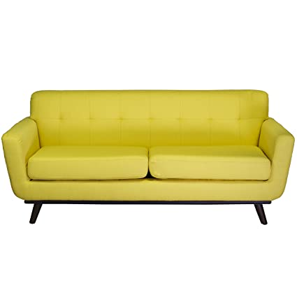 Beau Design Tree Home Tiffany 2 Seater Vintage Inspired Sofa, Yellow