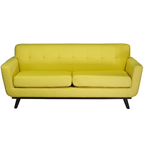 Design Tree Home Tiffany 2 Seater Vintage Inspired Sofa, Yellow