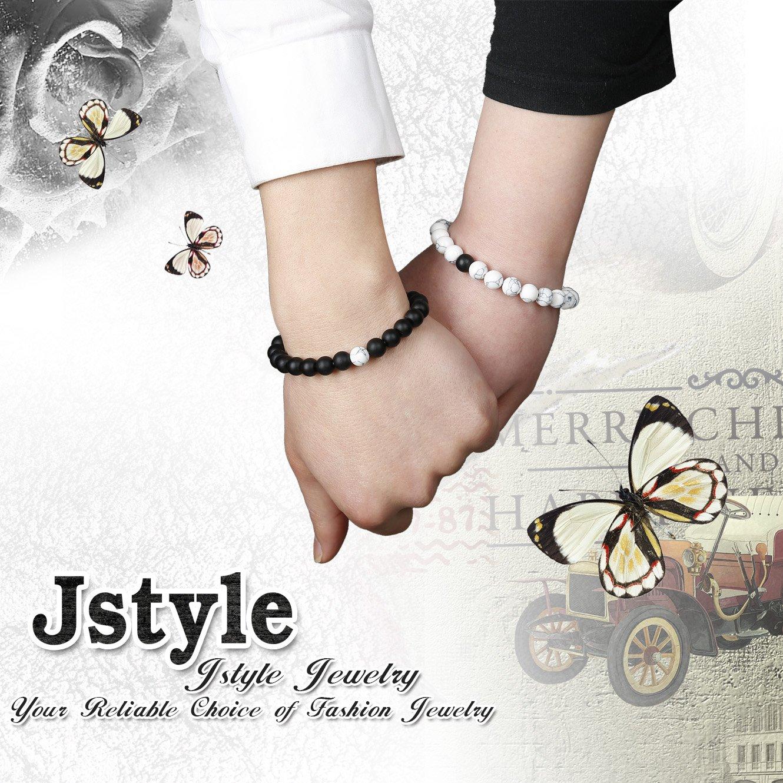 Jstyle Yin Yang Couples Necklace Bracelets for Women Mens Distance Leather Beaded Bracelet Adjustable 3Sets by Jstyle (Image #6)