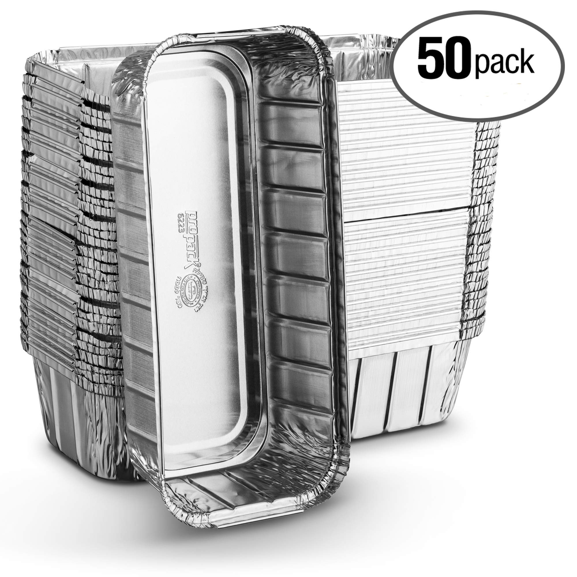 Propack Aluminum Disposable Rectangle 3 Pound Loaf Pans For Serving, Baking, Cooking, Roasting, Broiling, Cakes, 10.5'' x 5'' x 2.5'' Pack of 50