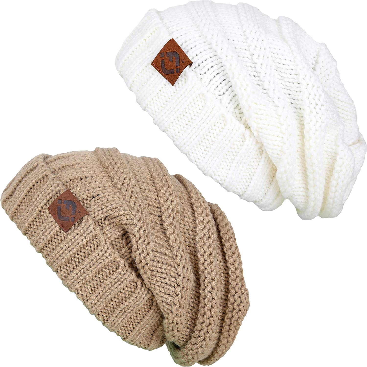 4b0d70cdc2f Funky Junque F2-2-1325 FJ Oversized Beanie Bundle - Camel   Ivory (2 Pack)  at Amazon Women s Clothing store