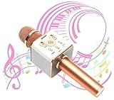 【MUUSY】 新型 スマホカラオケ 高音質 Bluetooth カラオケマイク (日本語説明書 & 1年保証付き) / ピンクゴールド